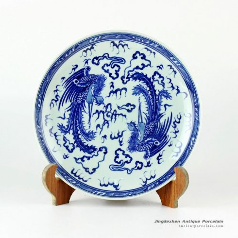 RYXC21_11.4″ Hand painted blue and white phoenix pattern decor plate