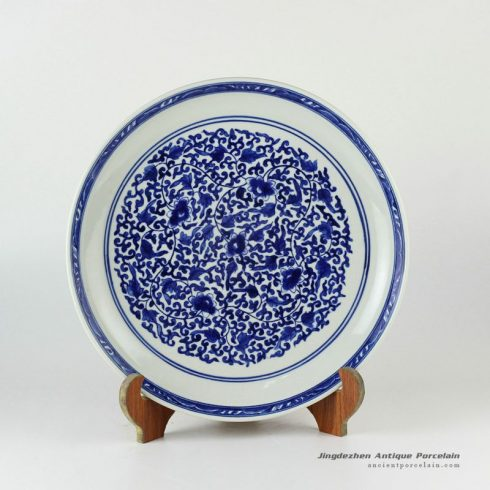 RYXC29_11.4″ Hand painted blue and white chinese ceramic decor plate