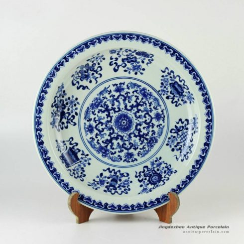 RYXC30_Hand painted Chinese decor blue and white plate