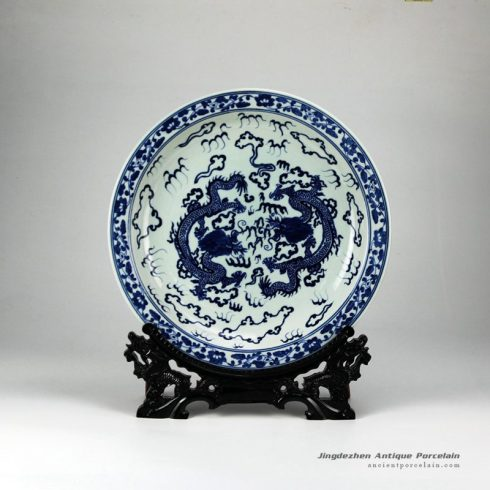 RYXC31-B_Double fire dragon hand paint precious porcelain plate