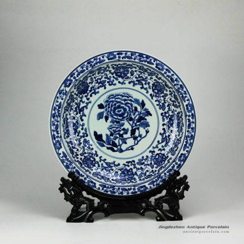 RYXC31-D_Peony flower pattern hand paint cobalt blue salad platter