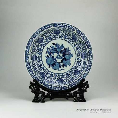 RYXC31-E_China hand paint pomegranate The more sons the more blessings moral porcelain fruit holder plate