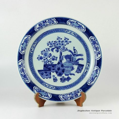 RYXC31_Hand painted Chinese decor blue and white vase and flower pattern plates