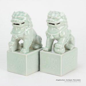 RYXP02-e_Celadon cream light green color fairy ancient porcelain lions display sculpture