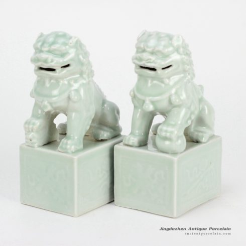 RYXP02-e_Celadon cream light green color fairy ancient porcelain lions display sculpture