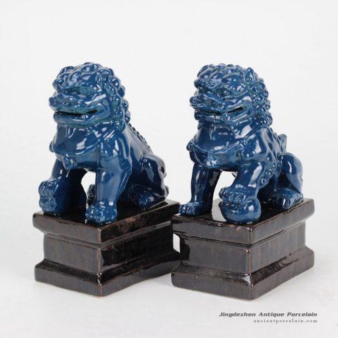 RYXP02-g_Fluid glaze dark blue oriental porcelain lion figurine