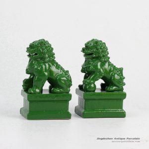 RYXP02-h_Jade color glazed ceramic display ornament lion figurine