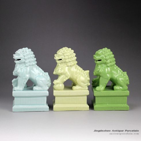 RYXP21-C_Solid color chinaware lion figurine