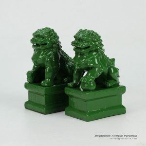 RYXP21-D-OLD_Green glazed porcelain lion sclupture