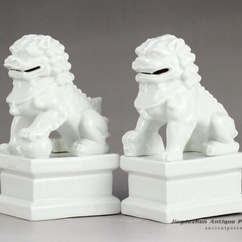 RYXP21-I_Plain color porcelain lion figurine