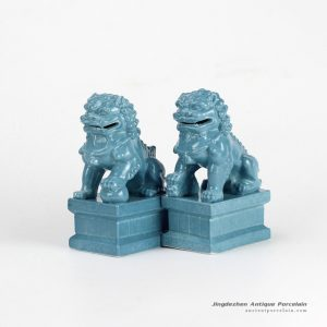 RYXP21-K_Plain color porcelain lion figurine