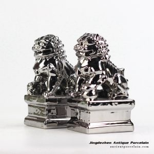 RYXP21-L_Pair of silver ceramic lion figurine