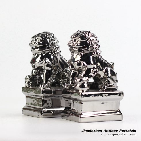 RYXP21-L_Pair of silver ceramic lion figurine