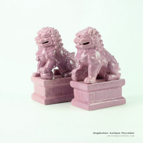 RYXP21-M_Cream pink glaze ceramic lion figurine for pair