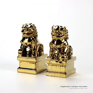 RYXP21-N_Chinese traditional lions door guard scaled down version ceramic gold lion figurine
