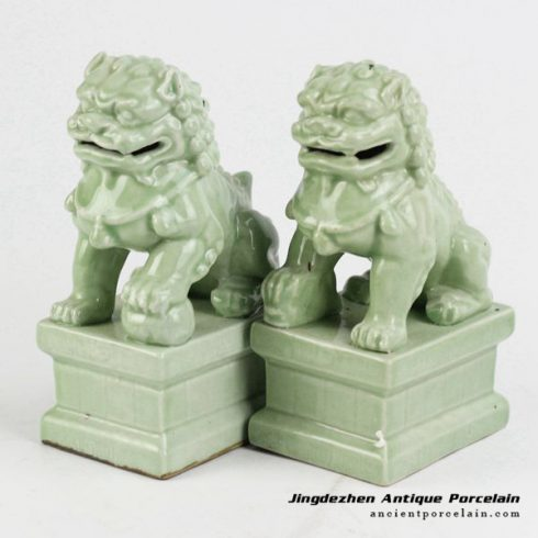 RYXP21-O_Plain color Chinese style ceramic lion statue