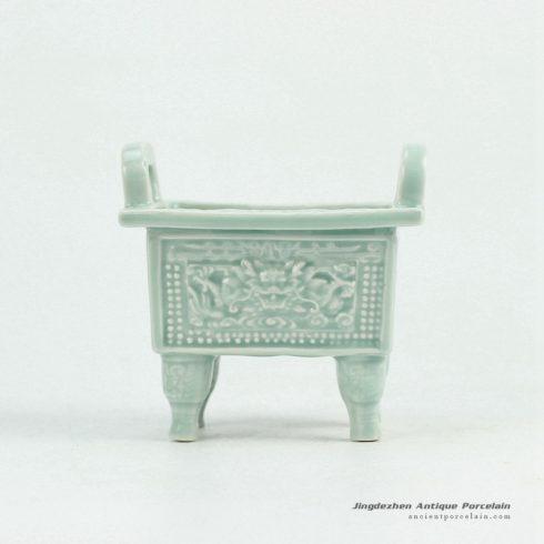RYXP34_Plain color celadon glazed inlaid chinese dragon engraved pattern quadripod incense burner