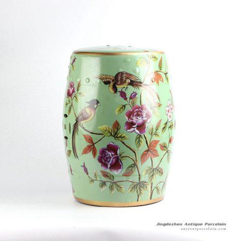 RYYL02_Lime green bird floral mark golden line plated hall lobby ceramic barrel rest seat