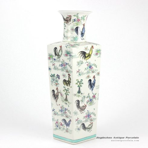 RYYQ02_Rectangular body open mouth hand paint colorful roosters pattern enamel porcelain big vases