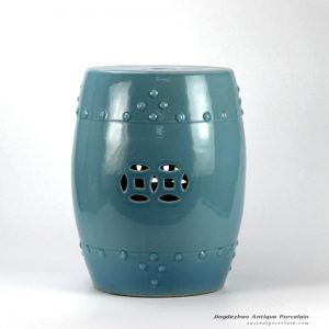 RYYV01-B_Green blue color small crackle glaze ceramic veranda stool