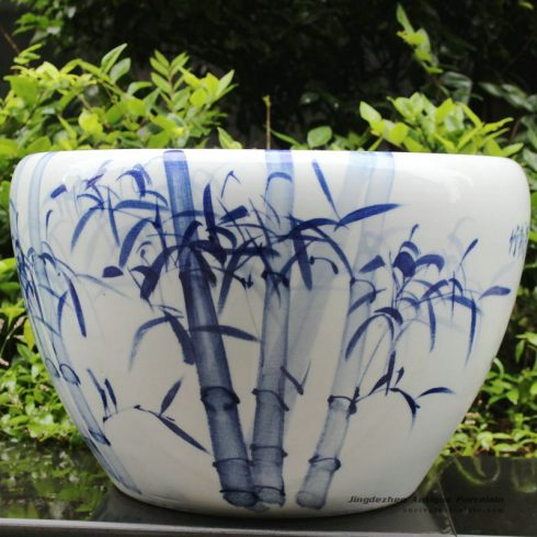 RYYY03_21 inch Hand paint blue and white bamboo ceramic planter