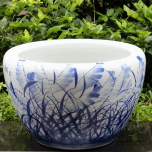 RYYY04_21 inch Ceramic planter hand paint grass