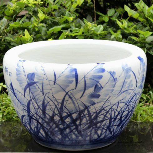 RYYY04_21 inch Ceramic planter hand paint grass