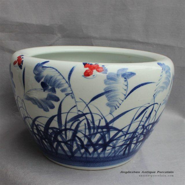 RYYY14_D16″ Blue and white ceramic planter grass design