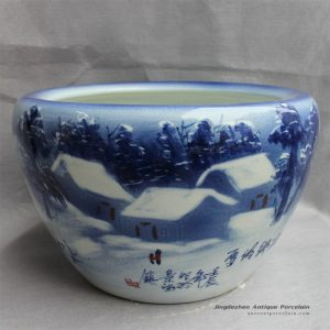 RYYY16_D16″ Hand painted Blue and white ceramic planter winter scenery