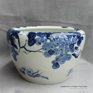 RYYY20_16″ Hand painted ceramic flower planter blue and white grape