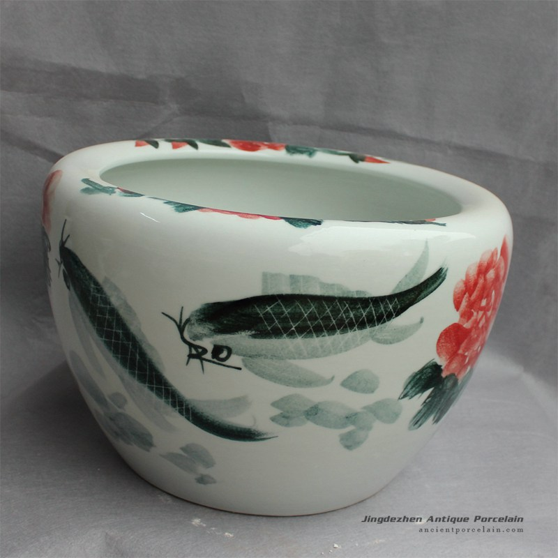 RYYY21_Hand painted ceramic flower pot Floral fish