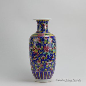 RYZG07_H16.3 Jingdezhen hand painted blue pink fruit and children design porcelain famille rose vase
