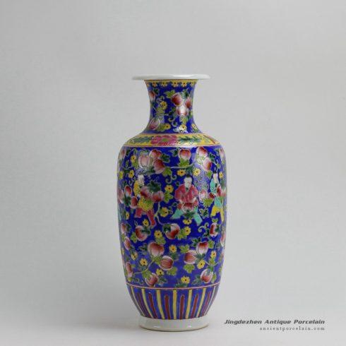 RYZG07_H16.3 Jingdezhen hand painted blue pink fruit and children design porcelain famille rose vase