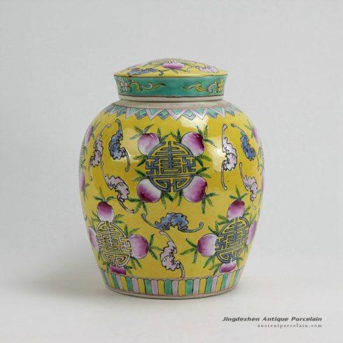 RYZG09_H9.8 INCH Jingdezhen hand painted yellow famille rose peach design porcelain pots