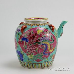 RYZG10_H8.4″ Jingdezhen hand painted pink and green famille rose porcelain oil pot