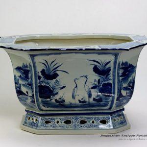 RZAJ16_22″ High quality hand made Blue and White Flower Pot Porcelain Planter