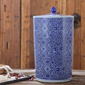 RZAP05-B_Blue and white floral mark vertical tube shape ceramic storage jar
