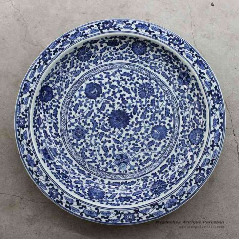 RZBD01_Blue and white hand painted floral porcelain plate