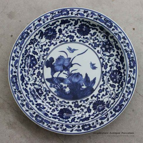 RZBD02_Blue and white porcelain hand painted waterlily plate
