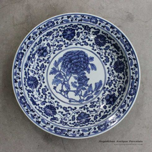 RZBD04_11.8″ hand painted blue white chrysanthemum design porcelain plate