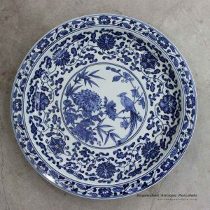 RZBD05_15.7″ hand painted blue white chrysanthemum and bird porcelain plate
