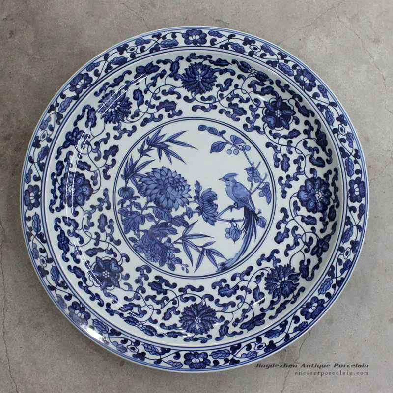 RZBD05_15.7\u2033 hand painted blue white chrysanthemum and bird porcelain plate : ceramic painted plates - pezcame.com
