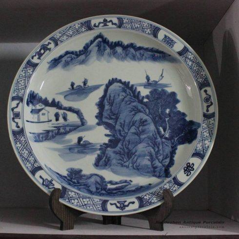 RZBD07_hand painted blue white landscape porcelain plates