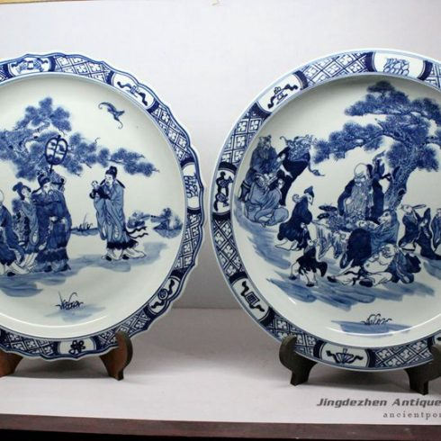 RZBD08_hand painted blue white porcelain plates