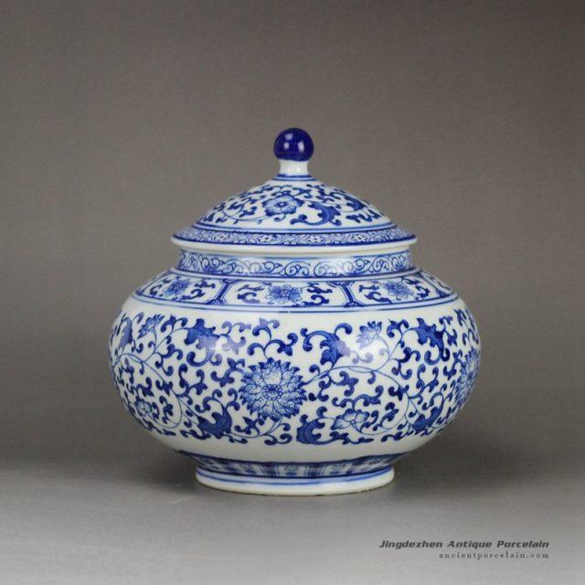 RZBG03-B_Japanese style connoisseur collection hand paint cornflower pattern porcelain tea jar