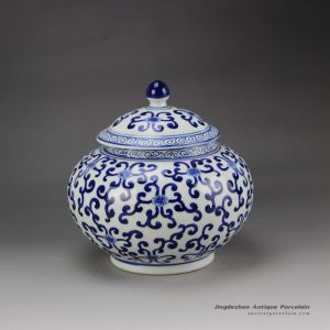 RZBG08-B_Hand paint elegant round belly blue and white chinese porcelain jar with lid