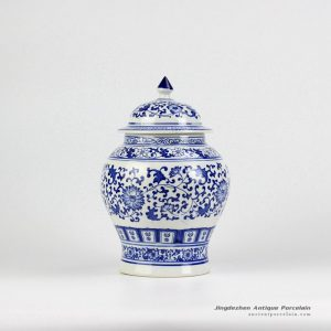 RZBG12_Hand paint blue and white hand paint floral pattern ceramic food jar