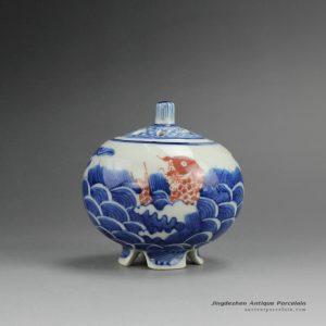 RZBP04_Blue and White Ceramic Burner Sea Fish Design