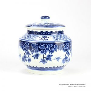 RZBV03_Butterfly loves the flower pattern traditional style home porcelain cookie jar