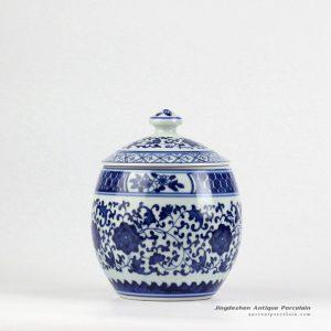 RZBV04_Hand paint blue and white floral pattern porcelain honey jar
